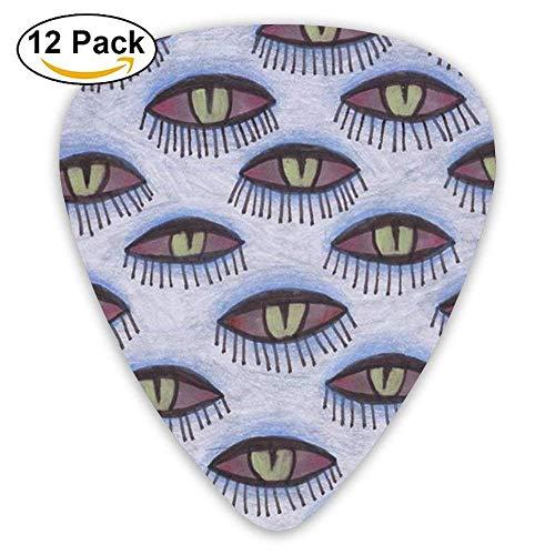 Medium Custom Eyelash Eyebrow Eyes Celluloid Guitar Accessories/parts Jazz Guitar Picks 0.46mm 0.71mm 0.96mm Kids 12 Packs