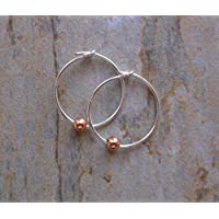 15mm Sterling Silver Hoop Earrings with Mini Rose Gold Beads, Gifts for Her