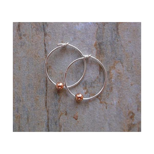 15mm Sterling Silver Hoop Earrings with Mini Rose Gold Beads, Gifts for Her 51d21K2XNwL