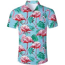 Camisa Hawaiana Florar Casual Manga Corta Ajuste Regular para Hombre algodón para Hombre botón de Camisa Hawaiana de impresión hacia Abajo Floral