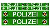 Finest Folia 6 x Polizei Auto Boot Caravan Bus Bike Fahrrad Aufkleber Plakette RC Car Modellbau (Grün)
