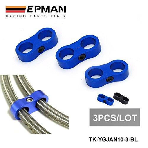 3blu (nero) universal- AN10billet oil/Fuel/Water tubo Turbo separatore divisore morsetto ep-ygjan10-3-bl