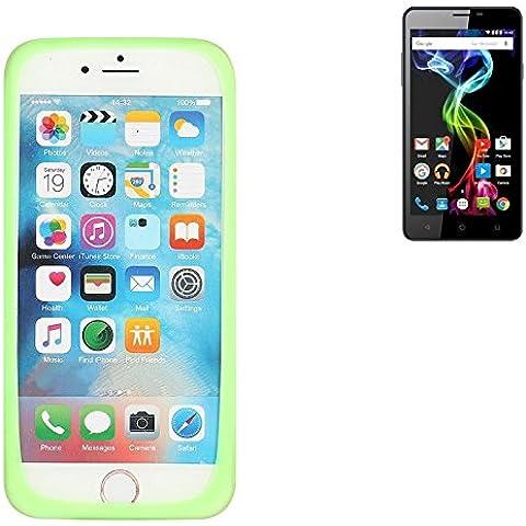 respingente de Silicone cassa / anello di copertura di TPU per Archos 55b Platinum, verde | protettivo in gomma protezione del telaio per Smartphone - K-S-Trade (TM)