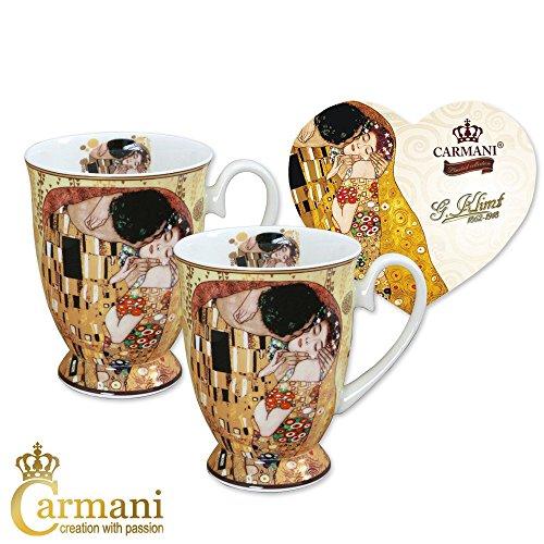 CARMANI - Porzellan-Becher mit 'Der Kuss' von Gustav Klimt dekoriert Set of 2