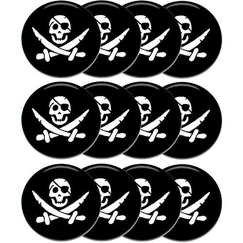 Polarkind Füllung Schatztruhe Kindergeburtstag 12 er Set Piraten Totenkopf Button Anstecker Pirat Totenkopf 38mm