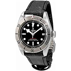 Tudor Patrimonio Negro Bahía 41mm Reloj para hombre correa de piel en color negro envejecido 79730–0003