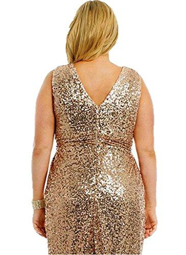 Huini Plus taglia damigella d' onore Dresses Sequin Long Prom Dress Oro