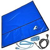 Minadax® 60 x 60cm Antistatik-Set: Antistatikmatte in Blau, Handgelenksschlaufe und Erdungskabel - Für ein sicheres Arbeiten und Schutz Ihrer Bauteile vor Entladungsschaeden