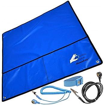 Minadax® antistatique ESD Set: tapis antistatique en bleu, une dragonne et le câble de mise à la terre - Pour un fonctionnement sûr et la protection de vos composants avant que des dommages de décharge