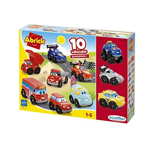 Jouets Ecoiffier - 3269 - Coffret 10 véhicules Fast Cars Abrick - Jeu de construction pour enfants - Dès 18 mois - Fabriqué en France