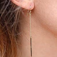 DDU(TM)) 1 Paar Golden Reizend Lange Kette Tropfen Baumeln Ohrbügel Ohrring Übersichtliches Design