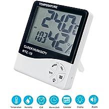 Gifort Digitales Hygrometer Thermometer, Raumluftüberwachtung Temperatur und Luftfeuchtigkeitmessgerät mit Wecker & Min/Max Records, großen LCD-Bildschirm, ℃/℉ Schalter für Büro, Wohnzimmer, usw