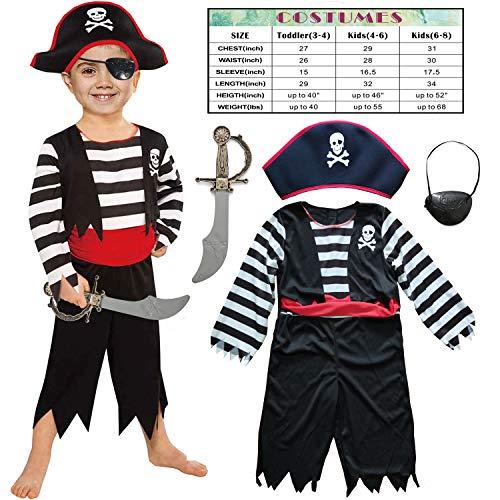 Kinder Piraten Jungen Kostüm mit Hut, Schwert, Augenklappe (3-4 Jahre/98-104) (Piraten Mädchen Kleinkind Kostüm)