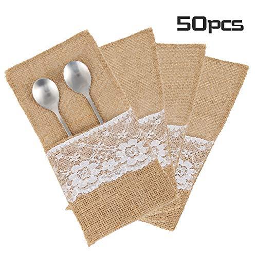 Enjoygoeu 50 STK Bestecktasche Jute Hochzeit Vintage Sackleinen Spitze Besteck Tasche Besteckbeutel Tischdeko für Party Hochzeit