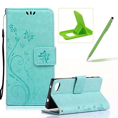 Für Sony Z5 Mini Hülle Lanyard Leder Brieftasche Case,Für Sony Z5 Mini Strap Schutztasche Leder Hülle,Herzzer Prämie Einfarbig [Schmetterling Blätter Geprägte Geschnitzte] PU Leder Geldbörse Bookstyle Grün
