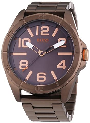 BOSS Orange Herren-Armbanduhr XL Berlin Analog Quarz Edelstahl beschichtet 1513002