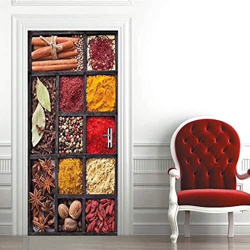 Miss Zhang's shop Tür Aufkleber 3D Selbstklebende Kreative Kraut Tür Wasserdicht Abnehmbare PVC Tapete Wandtattoos Wohnzimmer Wohnkultur 90X200 cm - Tiger Kraut