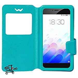Jkobi Caller ID 360* Protection PU Leather Flip Case Cover For HuaweiMate 8 (Universal) -Cyan
