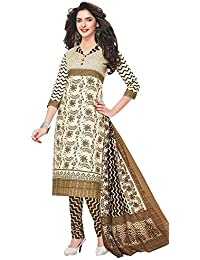 Baalar Women's Cotton Unstitched Dress Material (1526_Beige_Free Size By Onkar Trading)