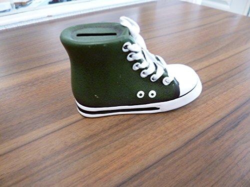 Spardose Turnschuh Chuck abschließbar Keramik Grün