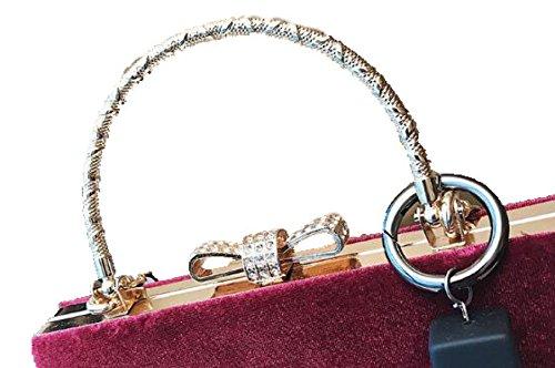 Fabelhaft Einfache Beiläufige Samt-Handtasche Diamant-besetzte Schulter-Kurier-Beutel Black