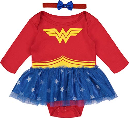 Kostüm Mädchen Wonder Kleinkind Woman - Warner Bros. Wonder Woman Baby-Kostüm für Neugeborene mit goldfarbenem Diadem, Stirnband und Umhang, Rot 18M Long-Sleeve with Headband