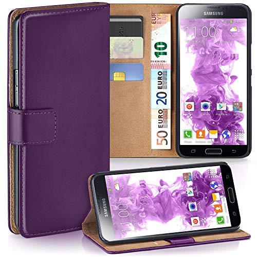 moex Samsung Galaxy S5 | Hülle Lila mit Karten-Fach 360° Book Klapp-Hülle Handytasche Kunst-Leder Handyhülle für Samsung Galaxy S5 / S5 Neo Case Flip Cover Schutzhülle Tasche