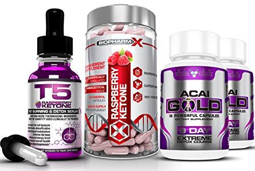 T5 Raspberry Ketones Serum (30ml) + Raspberry Ketone Diet Pills (60caps) + Acai Berry Gold (2x19caps) Maximum Strength Slimming / Weight Loss & Detox Bundle