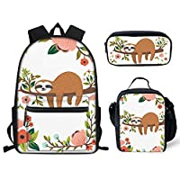 Showudesigns Middle School Backpack Lunch Box Set for Girls Animal Print Children Schoolbag Bookbag Lunch Bags for Kids Small Pencil Case 3 Pieces Green