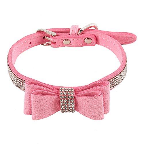 LanLan Collar de Perra de Diamantes de imitación de Cuero Suave diseño de Corbata de Lazo para el pequeño Perrito del Gato y Perrito