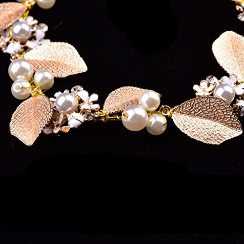 Oshide Haarschmuck Hochzeit Vintage Gold Perlen Haarband Mit Blatt Ohrring Schmuck Set - 5