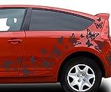 80x teiliges Set Auto Aufkleber Schmetterlinge Hibiskus Blumen Hawaii Sterne Seitenaufkleber Heckscheibe 2C123, Farbe:Schwarz Matt;Ausrichtung:normal