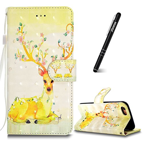 iPhone 6s Plus Custodia,iPhone 6 Plus Custodia in Pelle,Slynmax 3D Modello Copertura Folio Flip Cover PU Wallet Case Per iPhone 6s Plus / iPhone 6 Plus 5.5 Protezione Caso Ultra Sottile Colorato Prote Modello #10