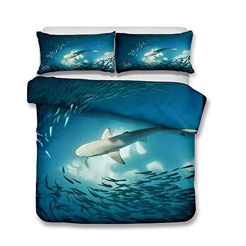 DANGONG BROTHERS Kinderbettbezug Set 3D Animal Print Effekt Quilt Bettwäsche Set, für Jungen Mädchen Teens Mehrere Designs Bettwäsche 3 Stück Bettbezug Kissenbezug,Shark9,Double -