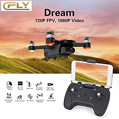 Ballylelly Drone with camera C-FlY Drone 5G RC Quacopter with 720P HD Camera Altitude Hold Drone GPS GLONASS Optical Flow Positioning Follow Me RC Quadcopter One Key Return Drone