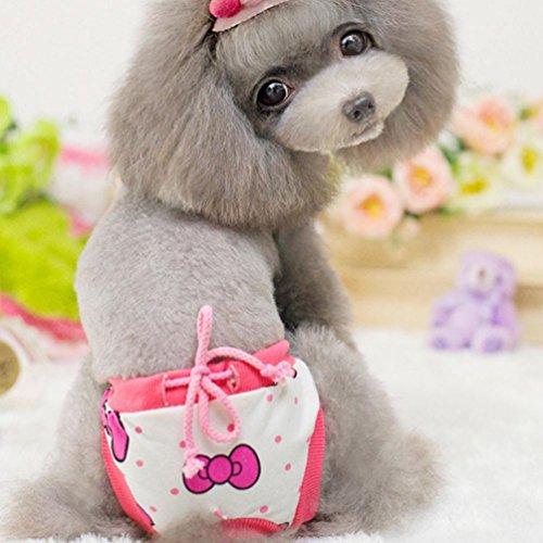 Ninasill Pet Apparel, ღ ღ Weiblich Rosa Schleife Hund Physikalische Hose Haustier Unterwäsche Hosen Elastic Windel Casual Medium Rose