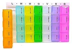 Idea Regalo - PortaPillole Settimanale (ITALIANO) Contenitore per Pillole a 7 Giorni, Ogni Giorno Scomparti per Mattino, Pomeriggio, Sera, Notte, Promemoria per Pillole 28 Scomparti (1 Pack, Colorati e Trasparenti)