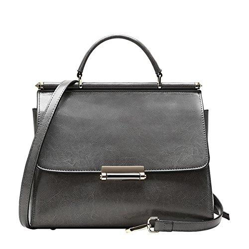 DISSA EQ0811 Damen Leder Handtaschen Satchel Tote Taschen Schultertaschen Grau