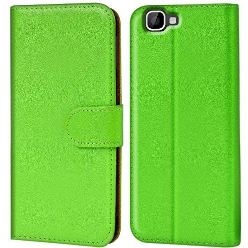 Verco Rainbow Hülle, Handyhülle für Wiko Rainbow Tasche PU Leder Flip Case Brieftasche - Grün