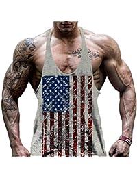 Camiseta sin mangas para hombre Hippolo Gym para ejercicio, camiseta deportiva, chaleco, color gris, tamaño extra-large