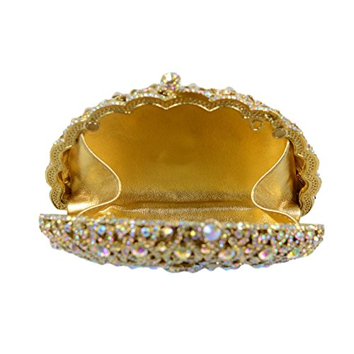 Yingzu Delle donne Pavone Cristalli La metà Luna Disco rigido Caso Sera Frizione Borse (Azure) Oro