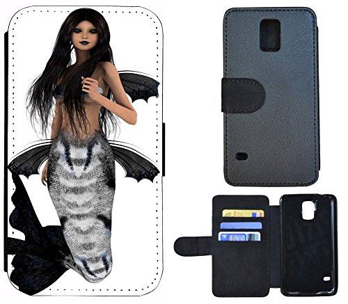 Flip Cover Schutz Hülle Handy Tasche Etui Case für (Apple iPhone 6 / 6s, 1144 Buddha Lotusblume Braun Pink) 1150 Meerjungfrau Schwarz Weiß