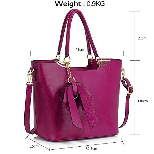 LeahWard® Damen Mode Patent Handtasche mit Bogen Damen Chic Hoch Qualität Große Größe Handtasche Tote CWS00348 Marine