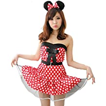 3 piezas Conjunto hw000001 Minnie Mouse traje Clipper Nari [rojo / tama?o F] vestir traje de cosplay de Halloween de Disney de una sola pieza vestido de Mickey Minnie Cenicienta Blancanieves Bruja Santa de la Navidad del traje (jap?n importaci?n)