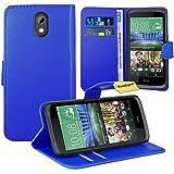HTC Desire 526G Handy Tasche, FoneExpert® Wallet Case Flip Cover Hüllen Etui Ledertasche Lederhülle Premium Schutzhülle für HTC Desire 526G (Blau)