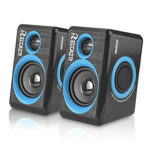Multimedia-Lautsprecher mit Subwoofer, Bass, USB-betrieben, für PC/Laptop/Smartphone (reccazr Einbau-Lautsprecher Blende blau
