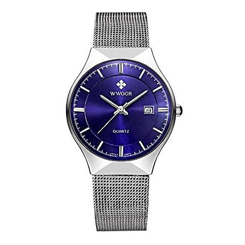 Herren Armbanduhren, Uhr Edelstahl Uhrarmband Elegant (Blau)