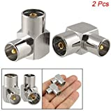 SODIAL(R) DVB-T TV PAL Female to Male Right Angle RF Adapter Connector 2 Pieces