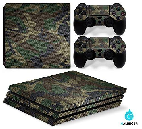 Gaminger Playstation 4 Pro Designfolie Sticker Skin Set für Konsole + 2 Controller - Camouflage