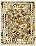 Nain Trading Kelim Afghan 196x153 Orientteppich Teppich Beige/Orange Handgewebt Afghanistan